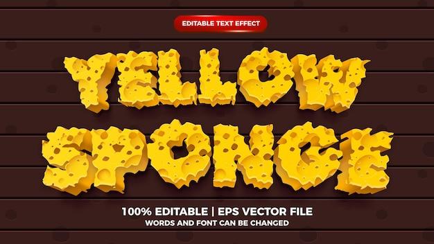 Estilo de desenho animado com efeito de texto editável de esponja amarela