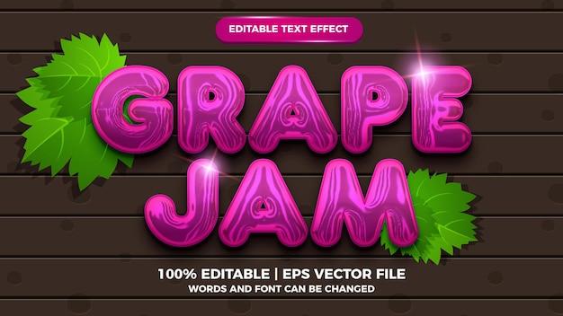 Estilo de desenho animado com efeito de texto editável de geléia de uva