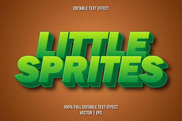 Estilo de desenho animado com efeito de texto editável de pequenos sprites