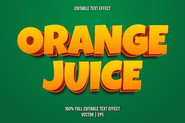 Estilo de desenho animado com efeito de texto editável de suco de laranja