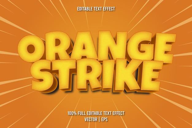 Estilo de desenho animado com efeito de texto editável de tacada laranja