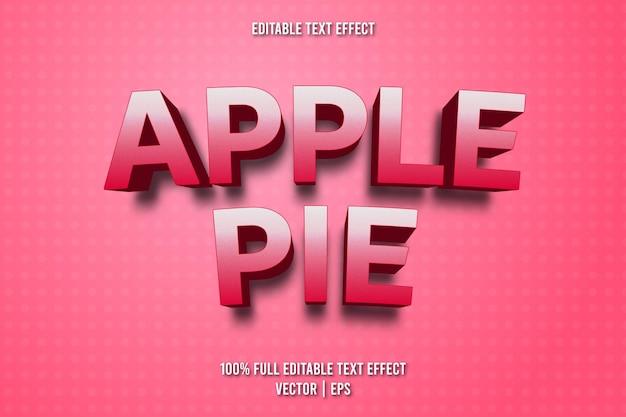 Estilo de desenho animado com efeito de texto editável de torta de maçã