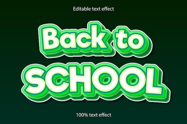 Estilo de desenho animado com efeito de texto editável de volta às aulas
