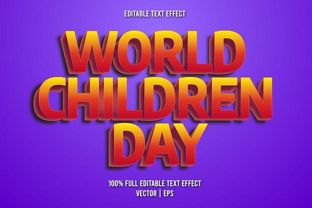 Estilo de desenho animado com efeito de texto editável do dia mundial da criança