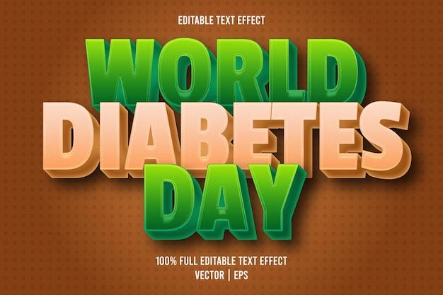Estilo de desenho animado com efeito de texto editável do dia mundial da diabetes