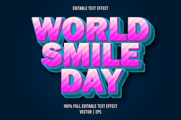 Estilo de desenho animado com efeito de texto editável do dia mundial do sorriso