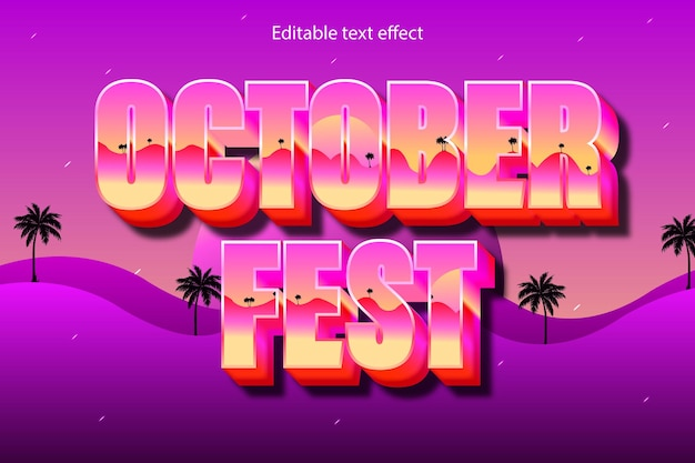 Estilo de desenho animado com efeito de texto editável do festival de outubro