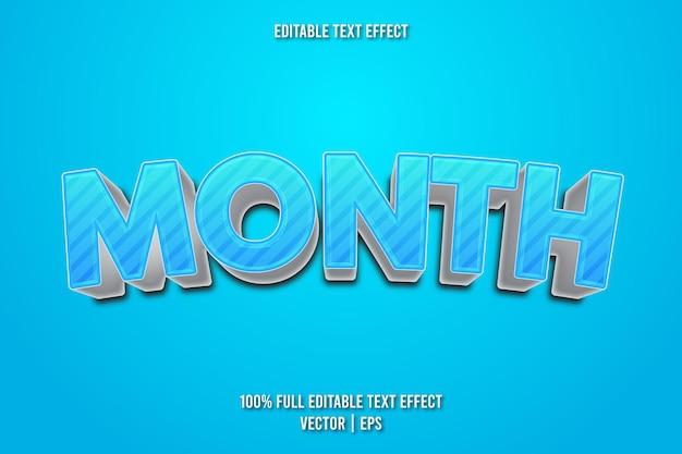 Estilo de desenho animado com efeito de texto editável do mês