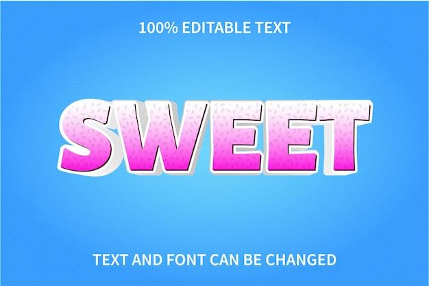 Estilo de desenho animado com efeito de texto editável doce