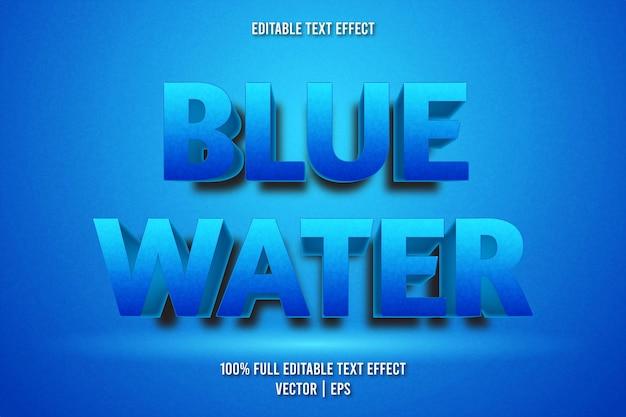Estilo de desenho animado com efeito de texto editável em água azul