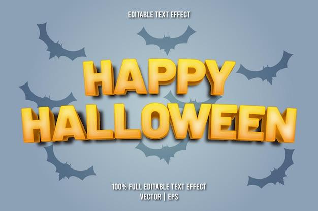 Estilo de desenho animado com efeito de texto editável feliz dia das bruxas