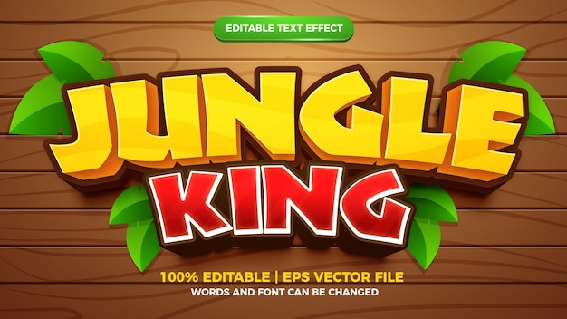 Estilo de desenho animado com efeito de texto editável jungle king