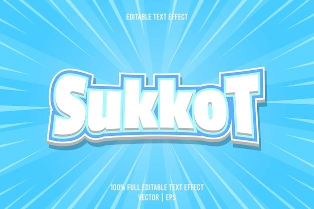 Estilo de desenho animado com efeito de texto editável sukkot de 3 dimensões em relevo