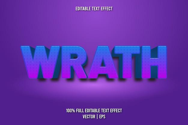Estilo de desenho animado com efeito de texto editável wrath