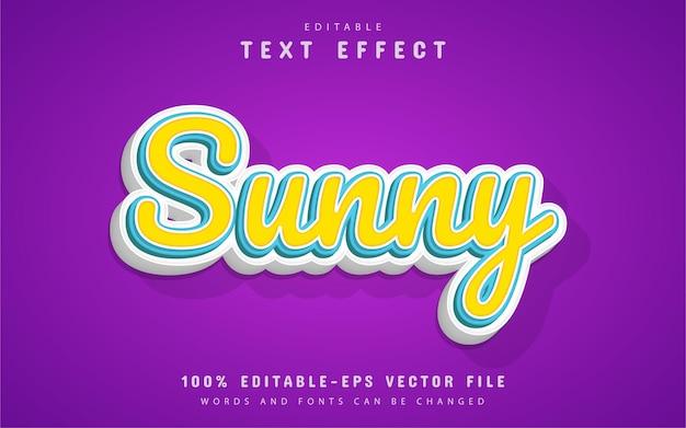 Estilo de desenho animado com efeito de texto ensolarado
