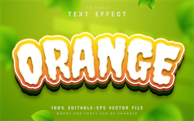 Estilo de desenho animado com efeito de texto laranja editável