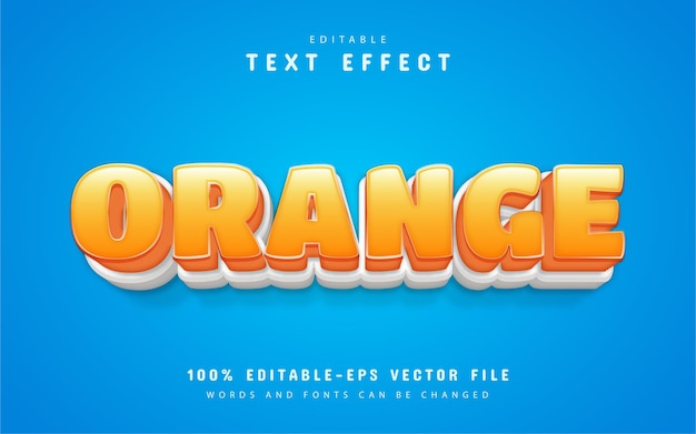Estilo de desenho animado com efeito de texto laranja