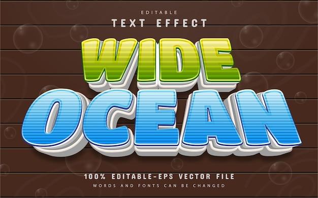 Estilo de desenho animado com efeito de texto oceano largo