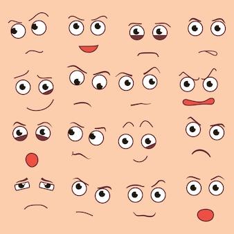 Estilo de desenho animado criativo de vetor sorri com emoções diferentes. eps10