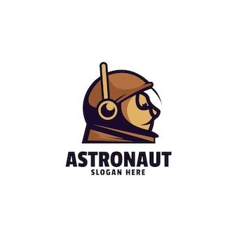 Estilo de desenho animado da ilustração do logotipo do mascote do astronauta