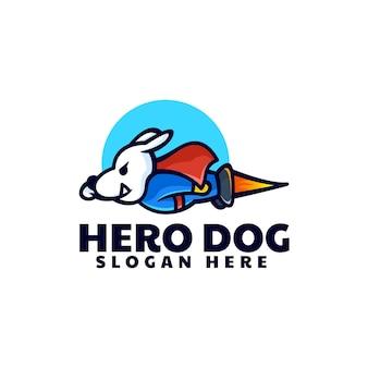 Estilo de desenho animado da ilustração do logotipo do vetor herói cão mascote