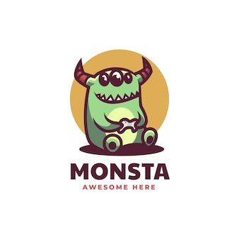 Estilo de desenho animado da ilustração do logotipo do vetor mascote do monstro