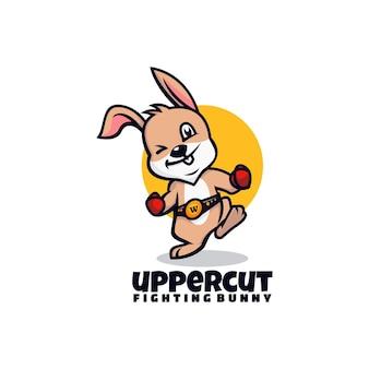 Estilo de desenho animado da ilustração do logotipo do vetor uppercut rabbit mascote
