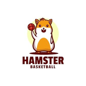 Estilo de desenho animado da mascote de basquete logo hamster