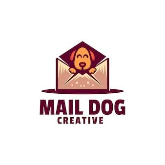 Estilo de desenho animado da mascote do cão do correio da ilustração do logotipo.