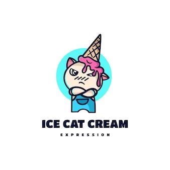 Estilo de desenho animado da mascote do gato do sorvete da ilustração do logotipo do vetor