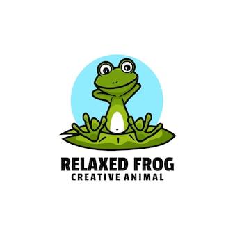Estilo de desenho animado da mascote do sapo relaxado da ilustração do logotipo.