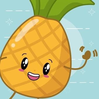 Estilo de desenho animado de abacaxi kawaii
