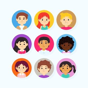 Estilo de desenho animado de avatares de pessoas