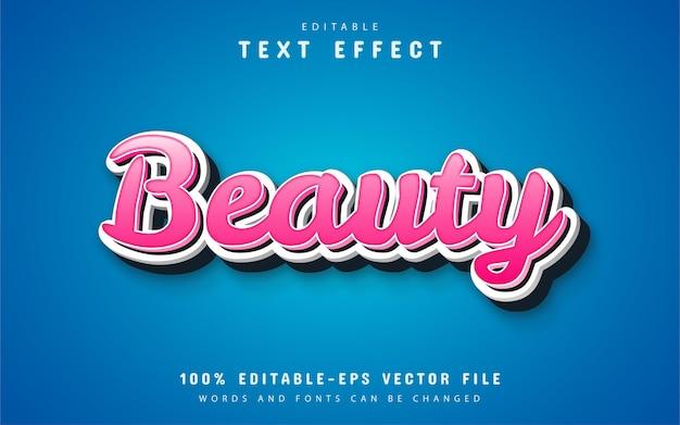 Estilo de desenho animado de efeito de texto de beleza