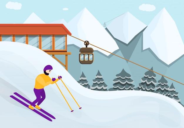 Estilo de desenho animado de estância de esqui