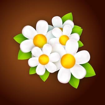 Estilo de desenho animado de flor branca 3d realista Vetor Premium
