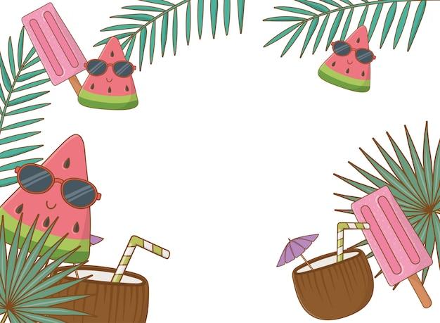 Estilo de desenho animado de fundo de quadro de verão tropical