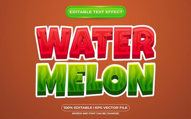 Estilo de desenho animado de melancia com efeito de texto editável
