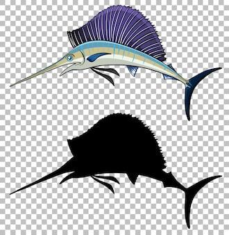 Estilo de desenho animado de peixe-espada com sua silhueta