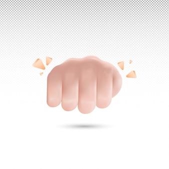 Estilo de desenho animado de soco 3d com fundo transparente vetor grátis