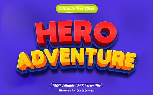Estilo de desenho animado do efeito de texto editável da aventura do herói em 3d