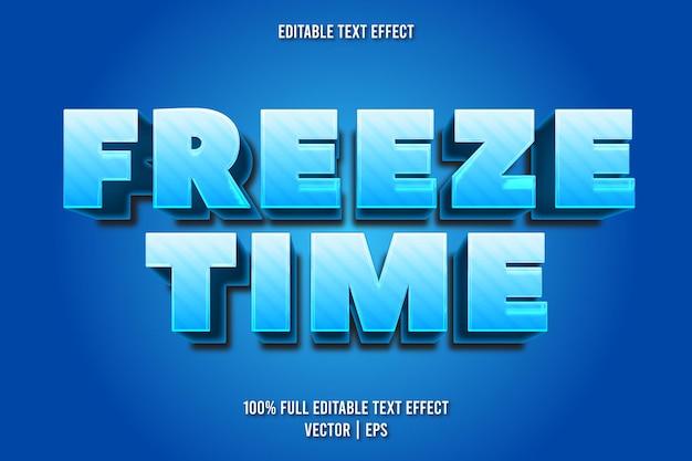Estilo de desenho animado do efeito de texto editável do tempo de congelamento