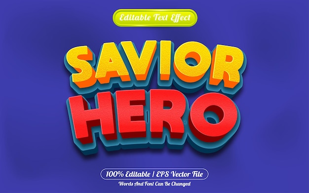 Estilo de desenho animado do herói salvador 3d com efeito de texto editável