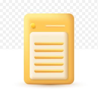 Estilo de desenho animado do ícone de nota amarela 3d em fundo transparente