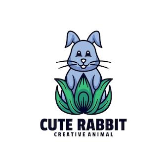 Estilo de desenho animado do logotipo coelho bonito mascote.