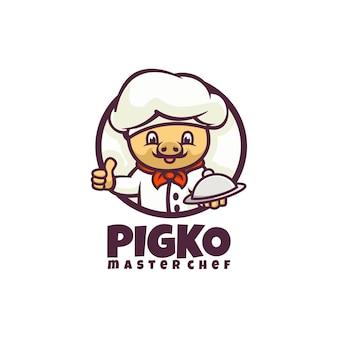 Estilo de desenho animado do logotipo do chef pig mascote