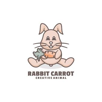 Estilo de desenho animado do logotipo do coelho mascote.