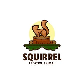 Estilo de desenho animado do logotipo do esquilo mascote