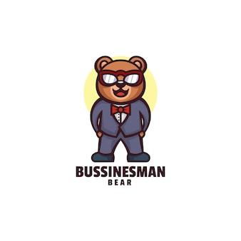 Estilo de desenho animado do logotipo do homem de negócios do urso mascote