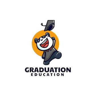 Estilo de desenho animado do logotipo do vetor da graduação da mascote